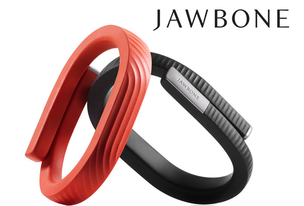 Billedet viser to Jawbone UP24 armbånd, et i rødt og et i sort. Dette er det helt nye armbånd som lige er kommet til Danmark.